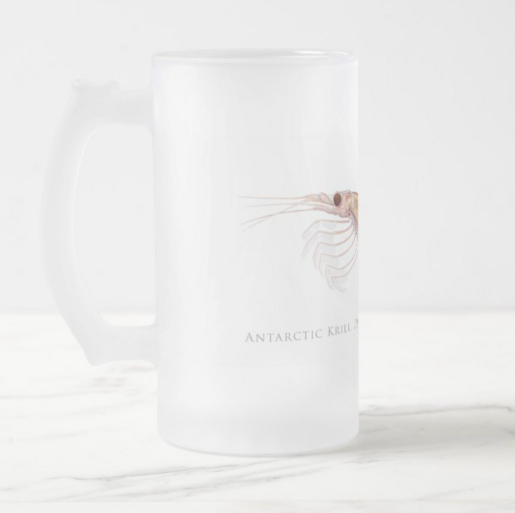 Antarctic Krill - Frosted Glass Stein - Stick Figure Fish Illustration