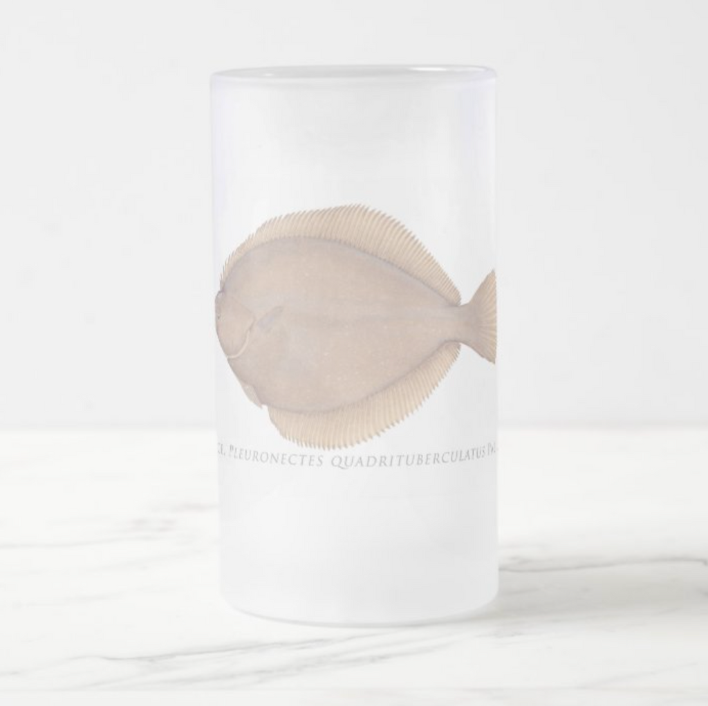 Alaska Plaice - Frosted Glass Stein - Stick Figure Fish Illustration