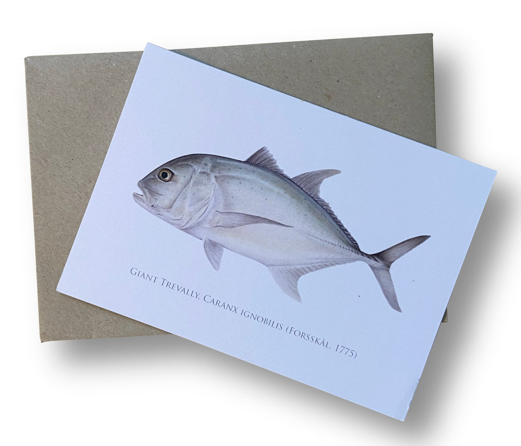 Giant Trevally Card - Stick Figure Fish Illustration