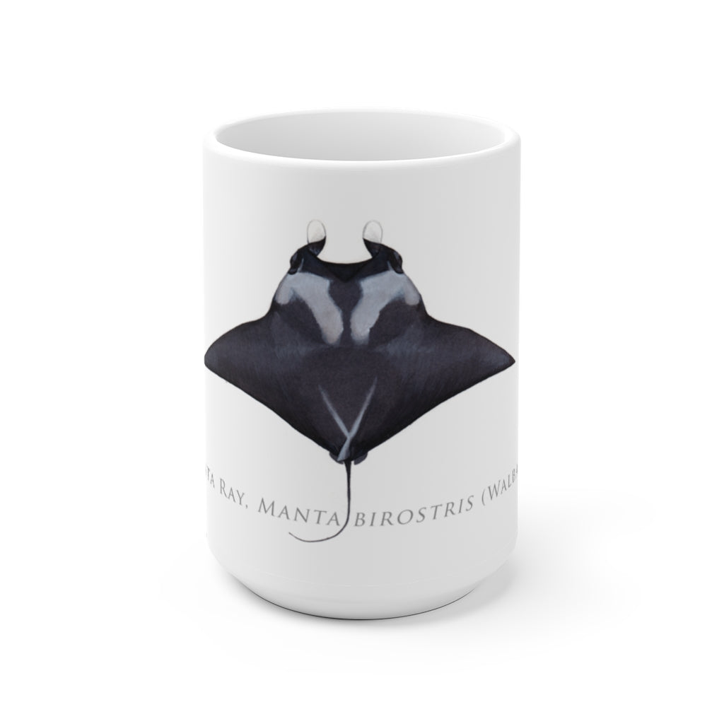 Giant Manta Ray Mug - Stick Figure Fish Illustration