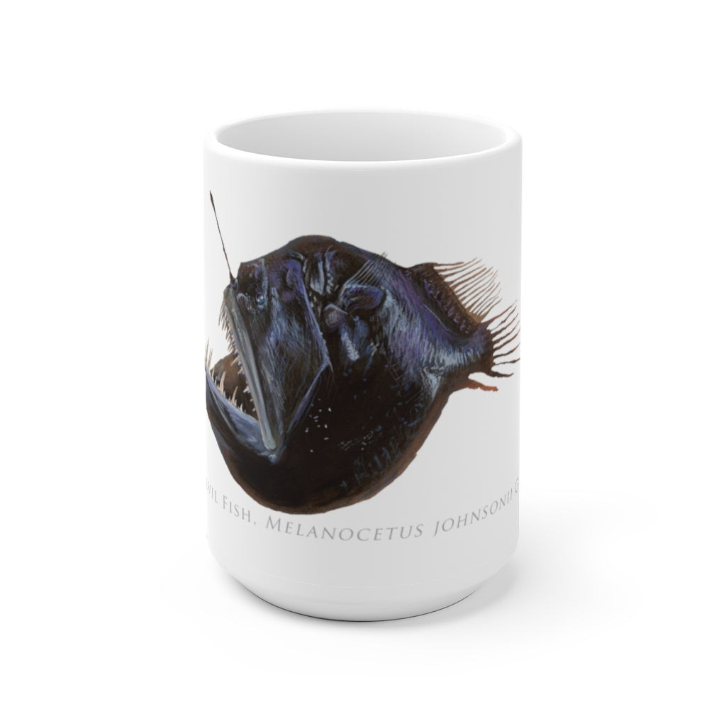 Humpback Blackdevil  Mug - Stick Figure Fish Illustration