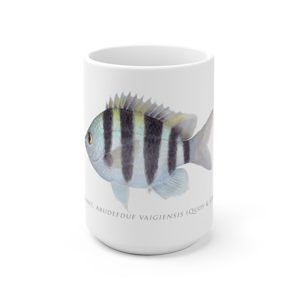 Indo-Pacific Sergeant Mug - Stick Figure Fish Illustration
