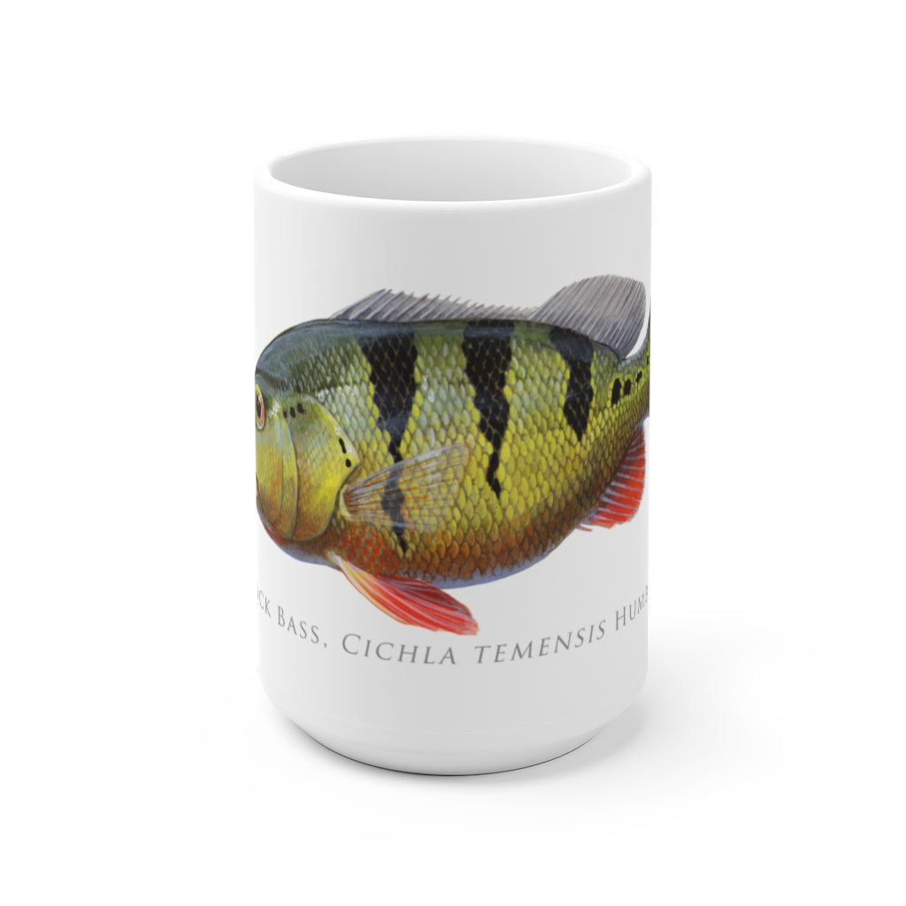 Speckled Peacock Bass Mug - Stick Figure Fish Illustration