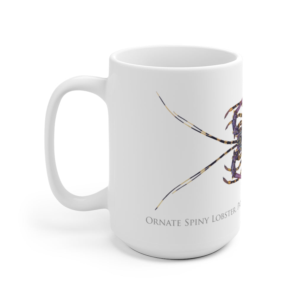 Ornate Spiny Lobster Mug - Stick Figure Fish Illustration