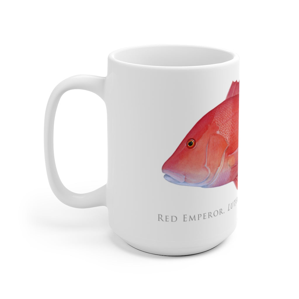 Red Emperor Mug - Stick Figure Fish Illustration