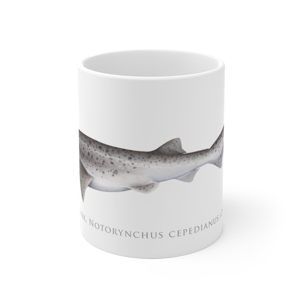 Broadnose Sevengill Shark Mug - Stick Figure Fish Illustration