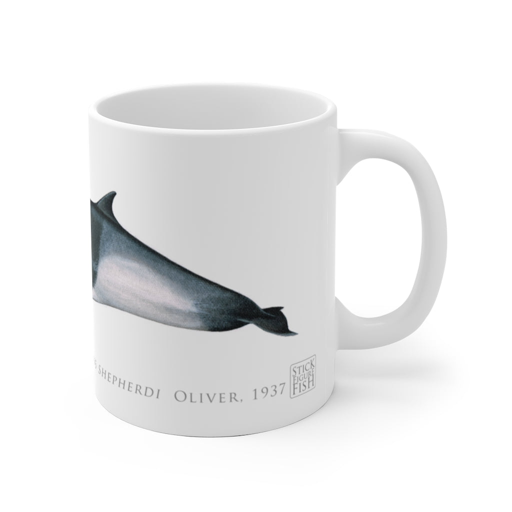 Shepherd's Beaked Whale Mug - Stick Figure Fish Illustration