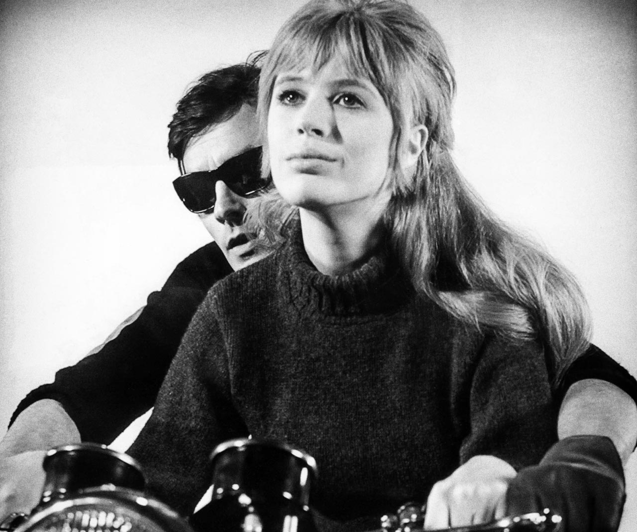 "Delon and Faithful in a publicity still from the cult film ""Girl on a Motorbike"" - one of Mojo's influences"