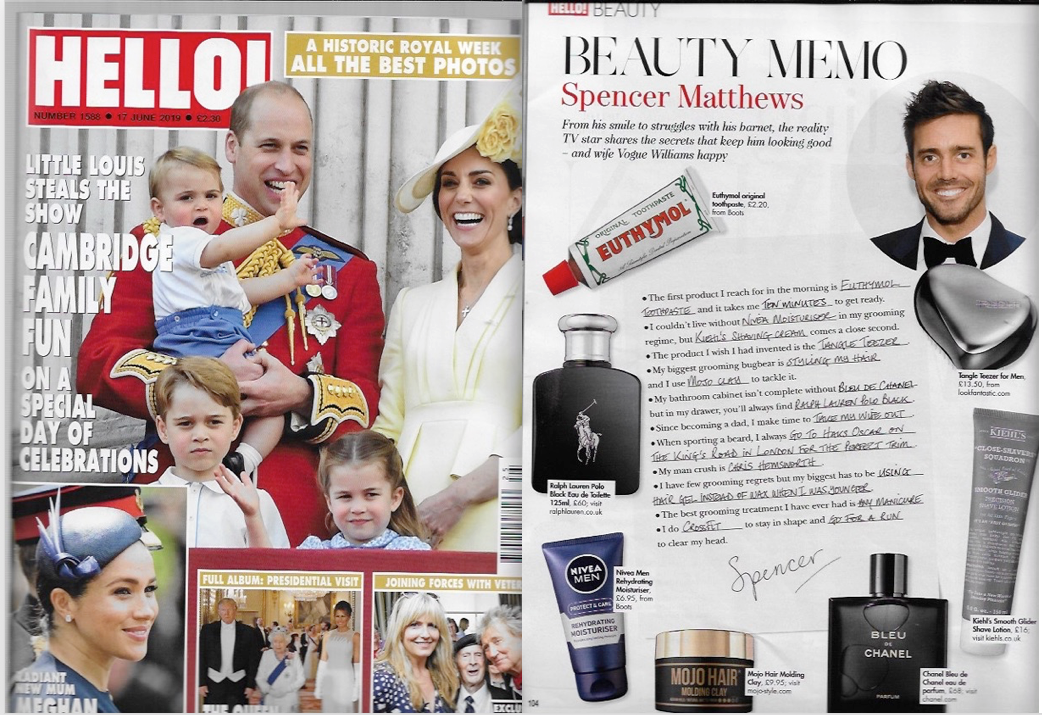 MOJO Hair Molding Clay featured with Spencer Matthews in this weeks Hello!