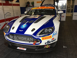MOJO Hair and Aston Martin GT4 at Silverstone