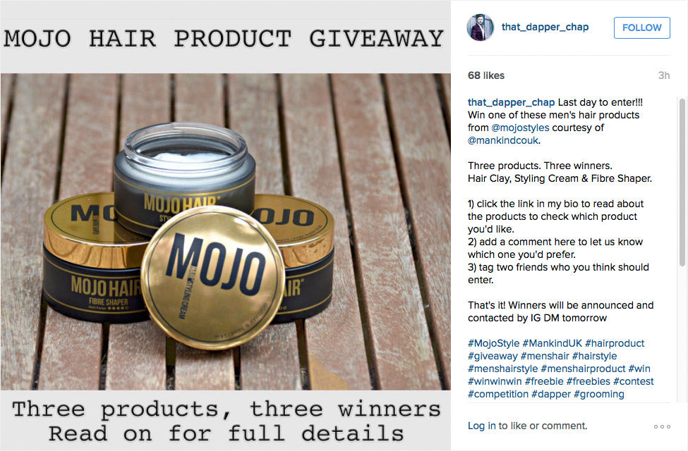 Win Mojo Hair* products courtesy of That Dapper Chap
