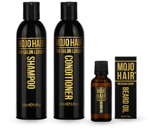 Mojo Hair* new Pro-Salon Luxury Shampoo, Conditioner and Beard Oil