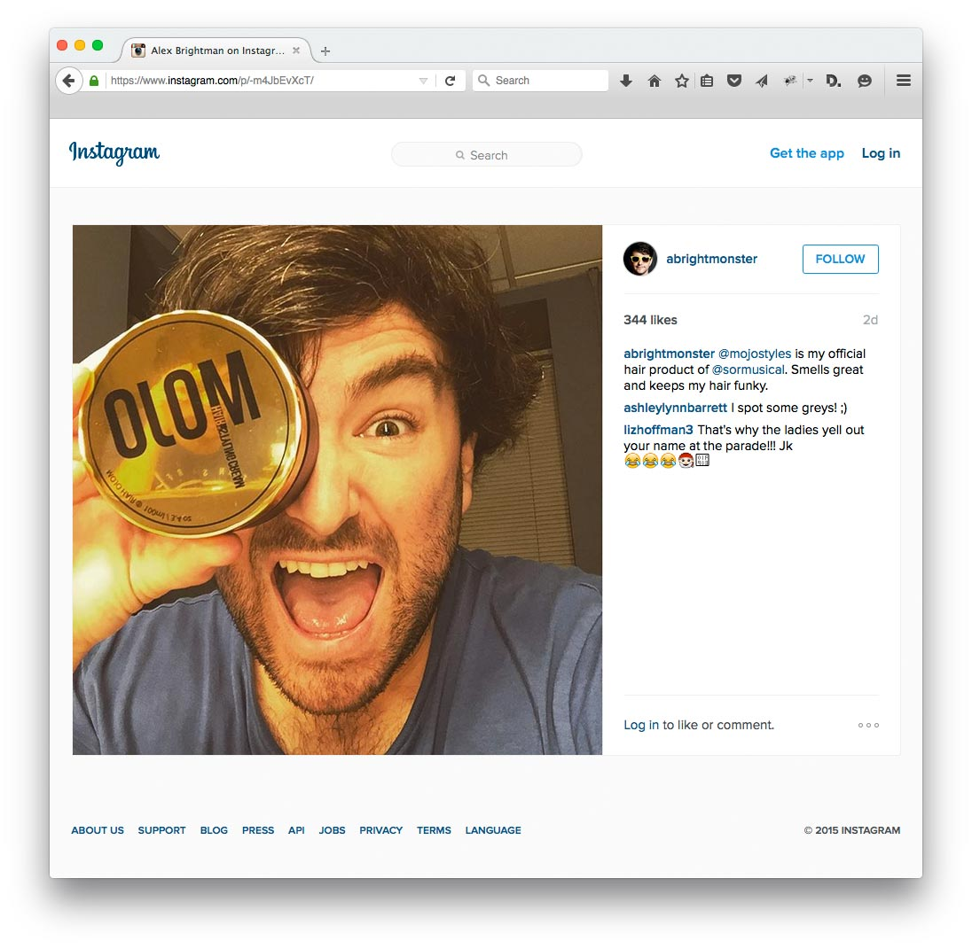"Alex Brightman says Mojo Hair* ""Smells great and keeps my hair funky"""