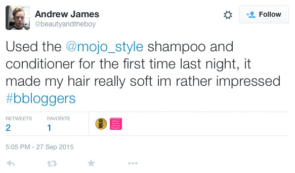 "Andrew James is ""really impressed"" with Mojo Shampoo and Conditioner"