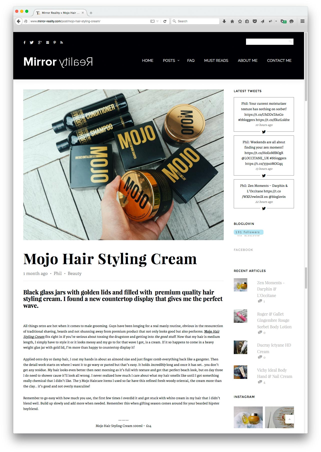 Phil at mirror-reality.com reviewed Mojo Hair's Styling Cream