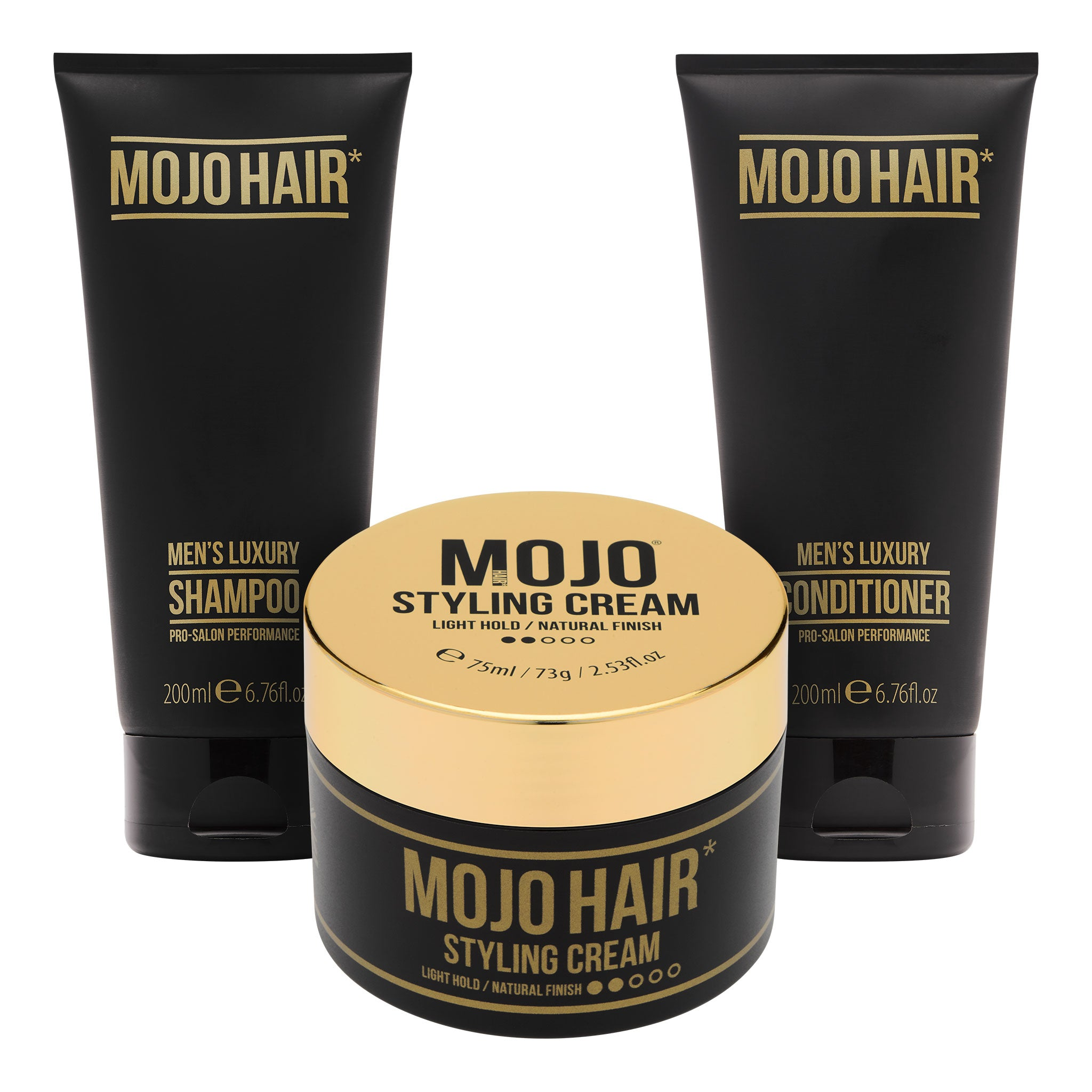 Mojo Hair Styling Cream Set with Shampoo & Conditioner