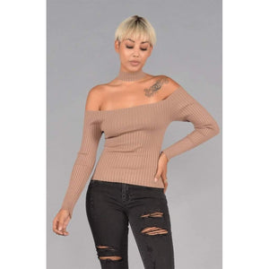 Long Sleeve Off the Shoulder Ribbed Sweater Choker Top-Look Love Lust