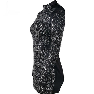 Geometric Rhinestone High Neck Long Sleeve Bodycon Dress-Casual Dresses-Look Love Lust