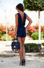 Load image into Gallery viewer, Lisa Sleeveless V-Back Romper-Rompers-Look Love Lust