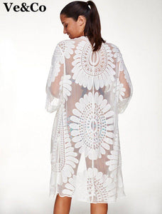 Floral Embroidery Bikini Cover Up Robe-Cover-Ups-Look Love Lust