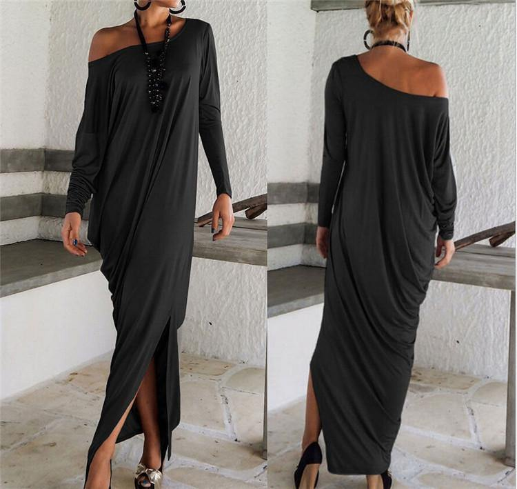"Long Sleeve Off-Shoulder ""Kelly"" Maxi Dress-Dress-Look Love Lust"