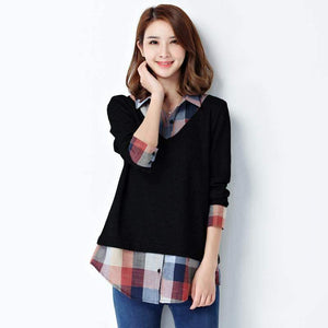 Women's Long Sleeve Plaid Patchwork Body Shirt-Blouses-Look Love Lust
