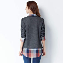 Load image into Gallery viewer, Women's Long Sleeve Plaid Patchwork Body Shirt-Blouses-Look Love Lust