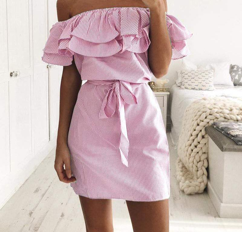 "Off-Shoulder Ruffled ""Tessa"" Mini Dress-Dresses-Look Love Lust"