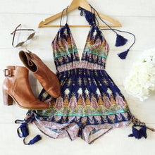 Load image into Gallery viewer, Paisley Print High Waist Multi Straps Plunging Romper-Rompers-Look Love Lust
