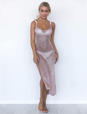 Knitted Beach Cover Up Slip Dress-Cover-Ups-Look Love Lust