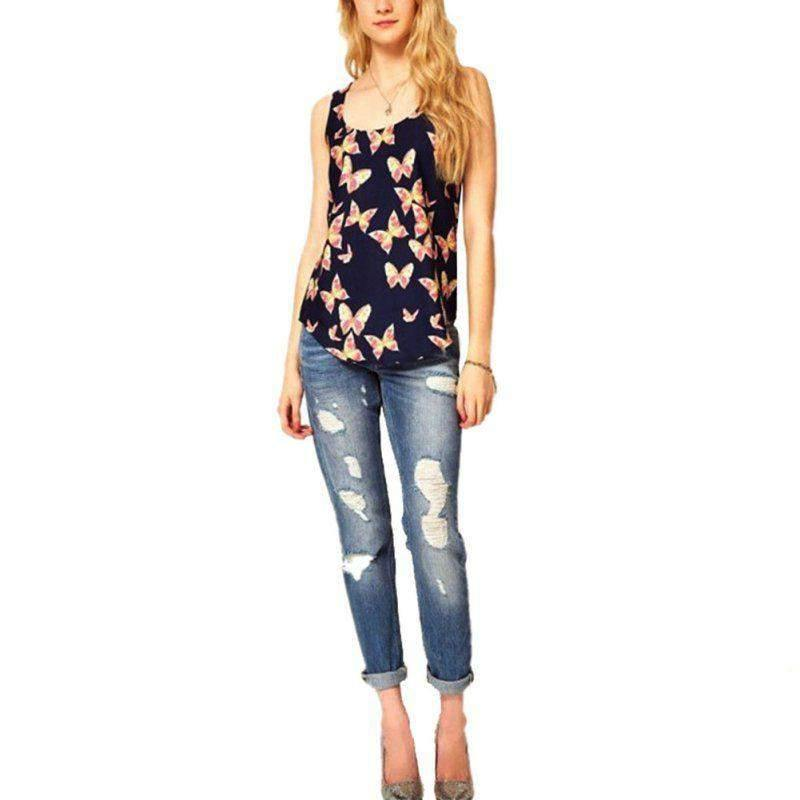Butterfly Print Sleeveless Blouse - T-Shirts -  Look Love Lust