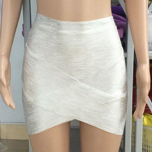 Metallic Bandage Skirt-Skirts-Look Love Lust