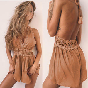 Plunging Halter Romper with Floral Crochet Accent-Cover-Ups-Look Love Lust