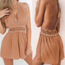 Load image into Gallery viewer, Plunging Halter Romper with Floral Crochet Accent-Cover-Ups-Look Love Lust
