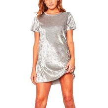 Load image into Gallery viewer, Short Sleeve Crushed Velvet Dress-Look Love Lust