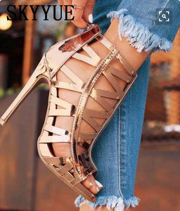 Gold Sexy Cutout Zip Back HIgh Heel Sandals-Look Love Lust