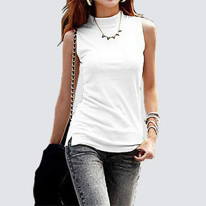High Neckline Sleeveless Blouse-Blouses-Look Love Lust