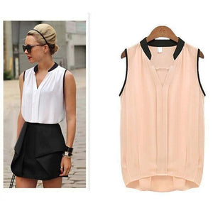 Pleated Sleeveless Chiffon Blouse-Blouses-Look Love Lust