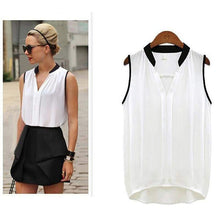 Load image into Gallery viewer, Pleated Sleeveless Chiffon Blouse-Blouses-Look Love Lust