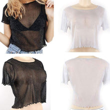 Load image into Gallery viewer, See Through Mesh Blouse-T-Shirts-Look Love Lust