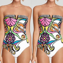 Load image into Gallery viewer, One Piece Tie Back Floral Print Push-up Strapless Bathing Suit-One-Piece Suits-Look Love Lust