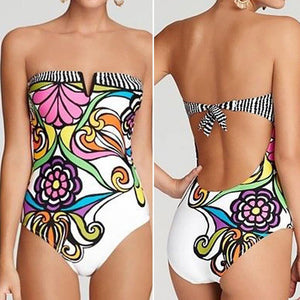 One Piece Tie Back Floral Print Push-up Strapless Bathing Suit-One-Piece Suits-Look Love Lust