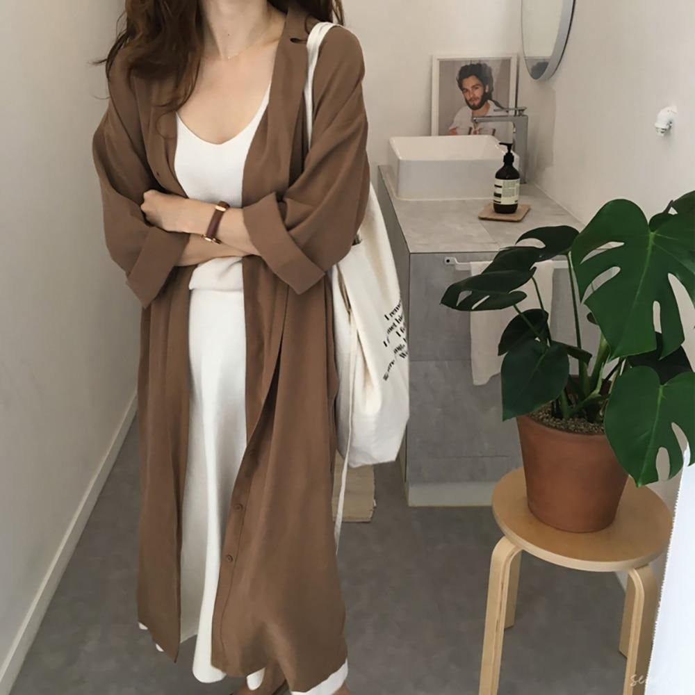 Solid Single-breasted Turn-down Collar Long Sleeve Trench Coat-Outerwear-Look Love Lust