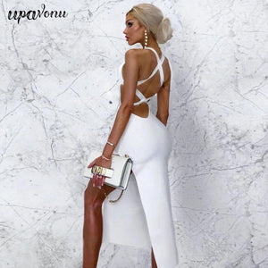 Lace Up White Halter Bodycon Midi Party Dress-Dresses-Look Love Lust