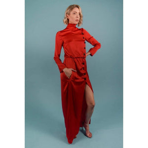 Red Turtleneck Maxi Dress-Women - Apparel - Dresses - Day to Night-Look Love Lust