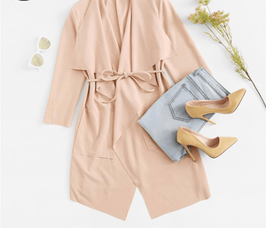 Knee Length Waterfall Collar Wrap Trench Coat With Belts-Outerwear-Look Love Lust