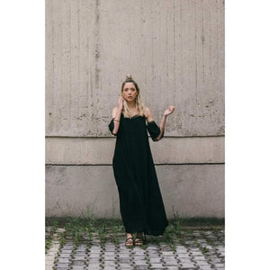 Pleated Black Dress-Women - Apparel - Dresses - Maxi-Look Love Lust
