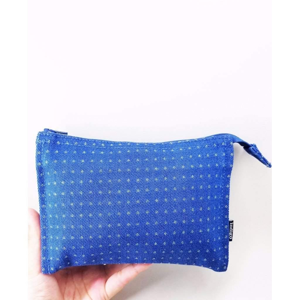 Tri-Fold Denim Poka Dots Pouch-Women - Bags - Cosmetic & Travel-Look Love Lust