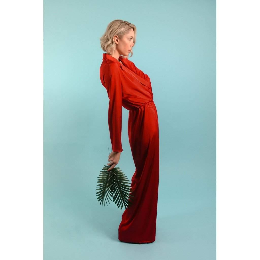 Red Silk Jumpsuit-Women - Apparel - Dresses - Day to Night-Look Love Lust