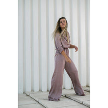Load image into Gallery viewer, Pink Silk Long Sleeve Jumpsuit-Women - Apparel - Jumpsuits/Rompers-Look Love Lust